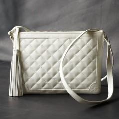 菱格紋流蘇吊飾包(珍珠白)
